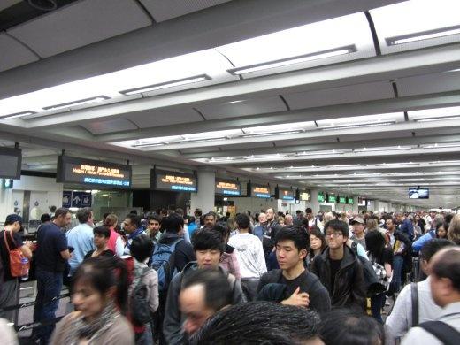 Hong Kong immigration line.