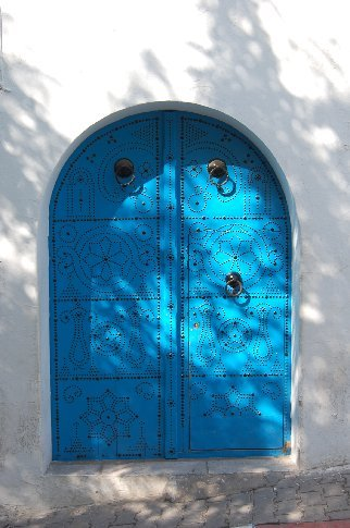 A traditional Tunisian door in Sidi Bou Said.