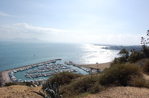 Looking up the coast from the top of Sidi Bou Said.