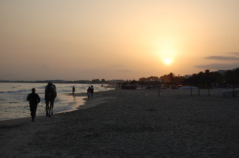 Sunset on the beach at Hammamet.
