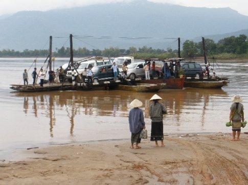 Ferry across the Mekong opposite Champasak.