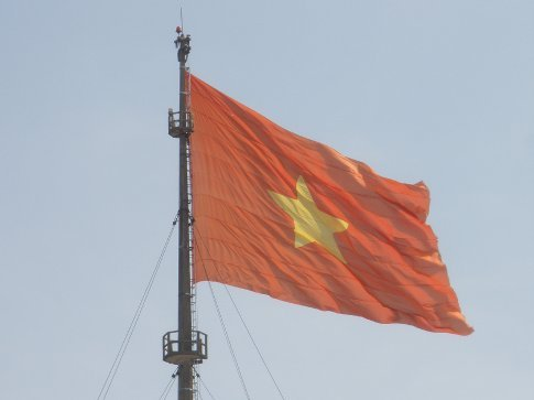 The Vietnamese Flag flying over the citadel, Hue.
