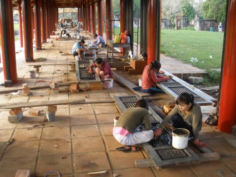 Restoration work in the Forbidden City.