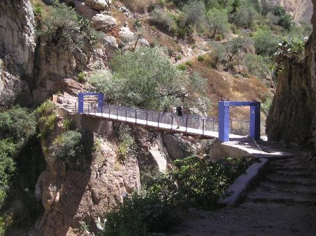 A bridge at the bottom of the Canyon.