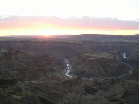 Sunset over Fish River Canyon.