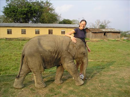 Lou with young friend, Chitwan National Park.
