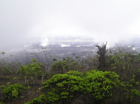 The smoking main crater of San Isabela. The Volcano erupted in October 2005.