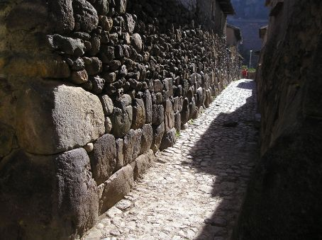 The ancient streets of Ollantaytambo, an almost intact Inca town, that is still lived in.