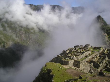 The cloud filled valley on one side of the site.