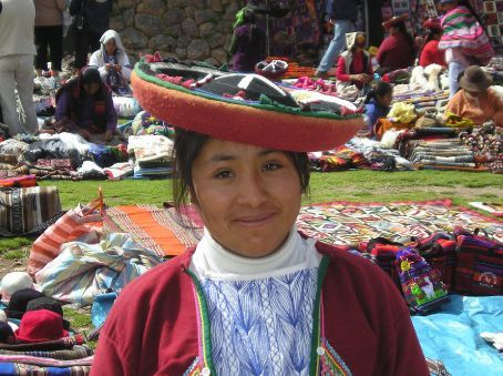 An Andean girl at a country market.