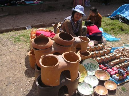 A two hob stove, Andean style.