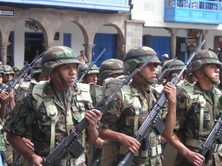 Peruvian soldiers on the march.