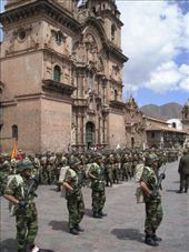 The Army marching past one of the churches in Cuscos main square. : by willlou, Views[340]