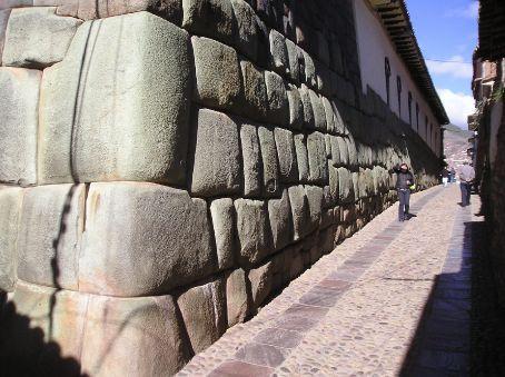 Inca stonework in the center of Cusco.