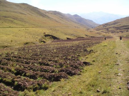 Descending from Three cairn pass towards Pucamarca, with potato fields on each side.