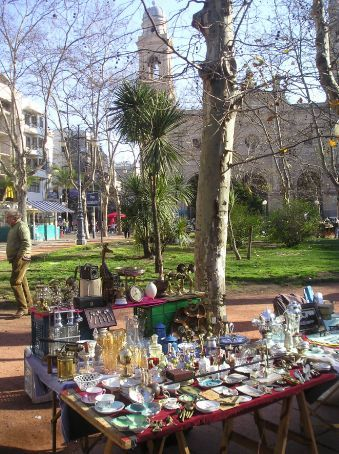 A flea market in one of Montevideo's main squares.