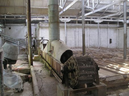 The remains of one of the canning machines.
