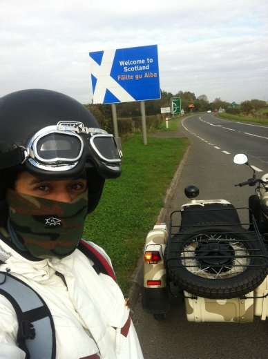 Me, arriving in Scotland, wheeee! Look how happy I am under the neck-warmy thing and helmet! So happy. Ahhh, those were the days... day..