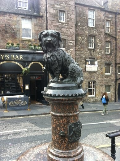 The statue commemorating Ye Olde Bobby. Years before his passing, a law was put through stating all dogs without an owner were to be destroyed. The mayor of Edinburgh at the time, hearing this paid for Bobbys' license, thus sparing him from a fate worse than.. um.. sparing him from a fate of death. When Bobby finally carked it, his body wasn't allowed to be buried within the cemetary as it was consecrated ground. He was instead buried just inside the gate, close to the final resting place of his master. Happy ending. As happy as it ever gets in Scotland anyway.
