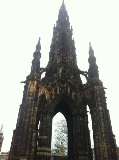 The Scott Monument, dedicated to Sir Walter Scott, author of such famous books as Ivanhoe, Rob Roy, and The Lady of The Lake. It looks like a giant goth rocketship. If you climb all 287 steps to the top, you get a certificate commemorating the event, as well as a cup of coffee and a free kitten.