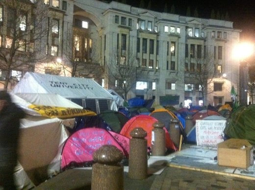 The angry London people, protesting against something financial. Tent city. My tent is better than theirs.