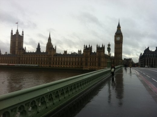 Another dreary London morning by the Thames. Houses of Parliament, Big Ben, I admit everything looks better when it's wet.