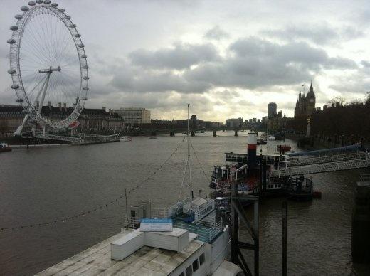 Floating restaurants overlooking the London Eye.