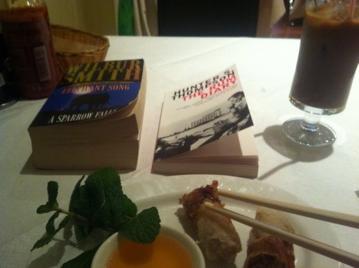 Vietnamese, yum yum. Pork spring rolls. Yum yum. I got heavily into reading books to pass the time whilst in London. Two at once, sometimes.