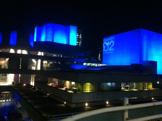 The British Film Institute in London, impressively lit up at night.