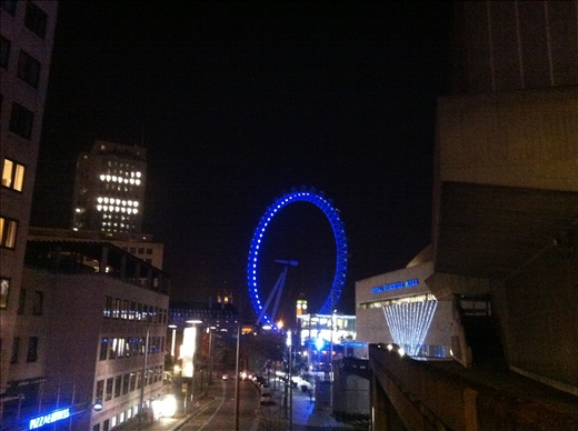 The London Eye, near BFI, also prettily adorned with lights at night. Rhyme!