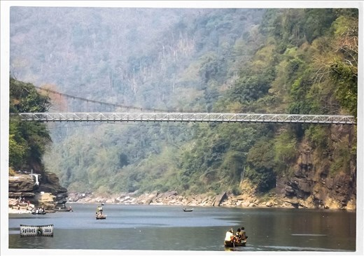 Jaflong, Sylhet 2013.Dawki  Suspension Bridge India.  Meghalaya Dawki Bridge, is a suspension bridge over the Umngot river. It was constructed in 1932 by the Britishers.