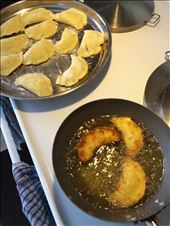 Sweet potato dough rounds shaped in a semicircle and fried: by worlddisruptor, Views[59]