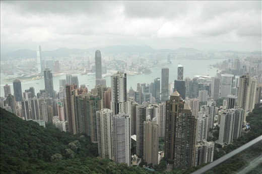 Panoramic view of the entire city from highest viewing platform in Hong Kong.