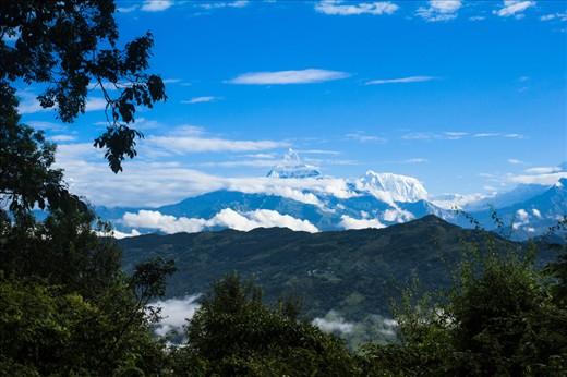 Machhapuchhre (Fishtail) mountain, one of the highest peaks in Pokhara, Nepal