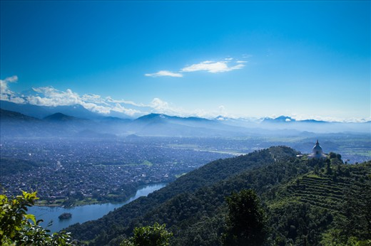 Pokhara city and world peace stupa with the annapurna ranges Sarangkot