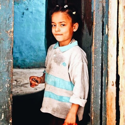 Portrait of a girl in the street in Alexandria, Egypt.