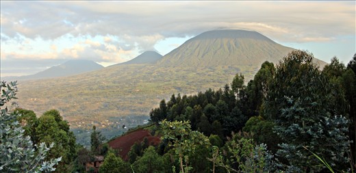 Volcanoes from Virunga Lodge.