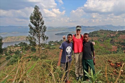 Meeting Fabrice and Gilbert from the village below Virunga Lodge.
