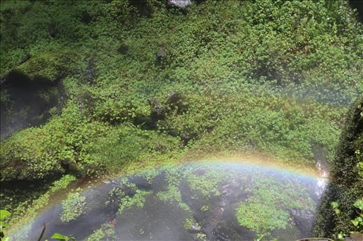 Rainbows in the spray.