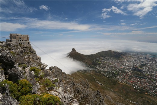 View of Cape Town, the Lions Head and Signal Hill from Table Mountain.