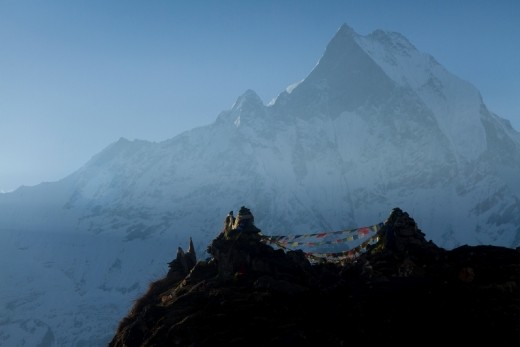 Prayers on the Peak - the Machhapuchhre at the background.