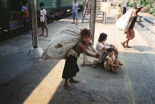 Burma is the poorest country in Southeast Asia, with roughly a quarter of it's population living in abject poverty. Young children are often forced to work for their families survival by doing things like collecting bottles.