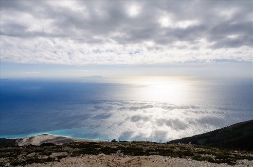 View from Llogara Pass at the coastal road.  The vast natural beauty of Albania should be preserved and shows the country's untapped possibilities.