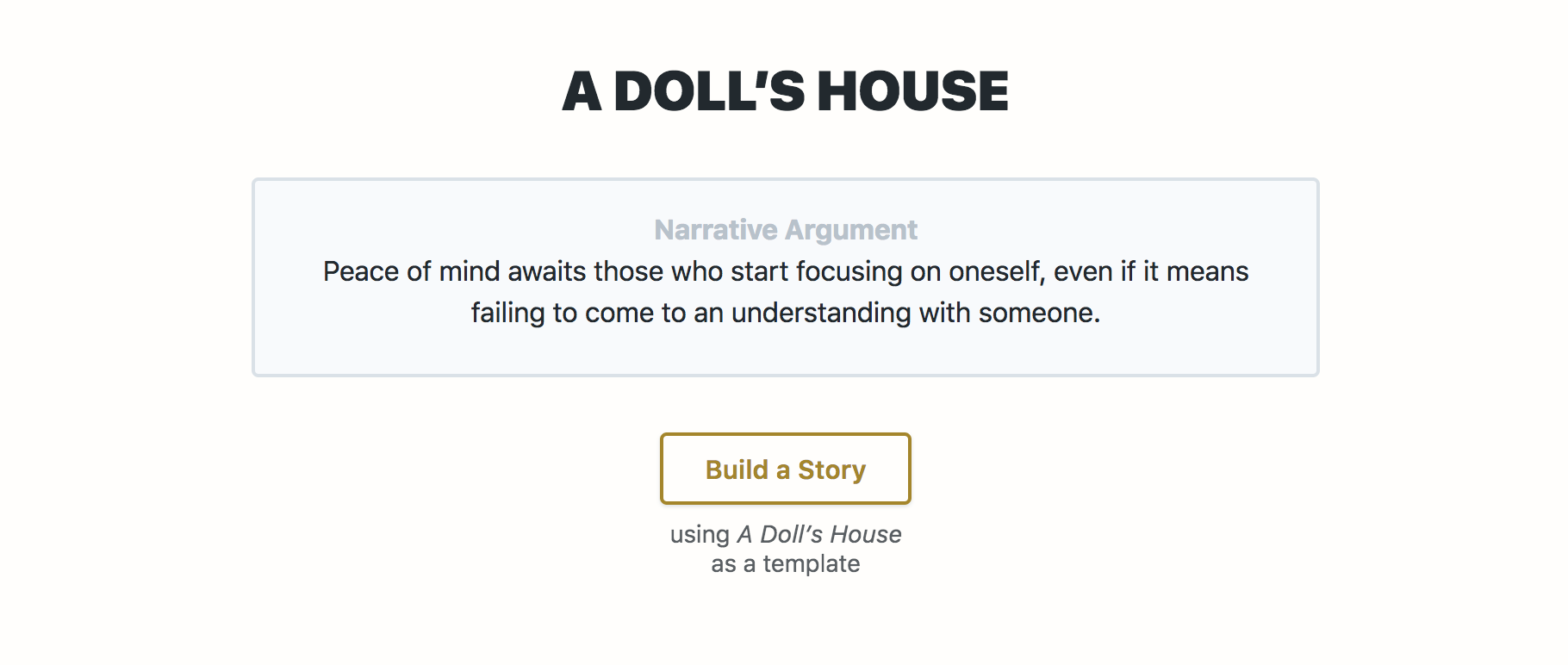 A Look at the Storyform for A Doll's House