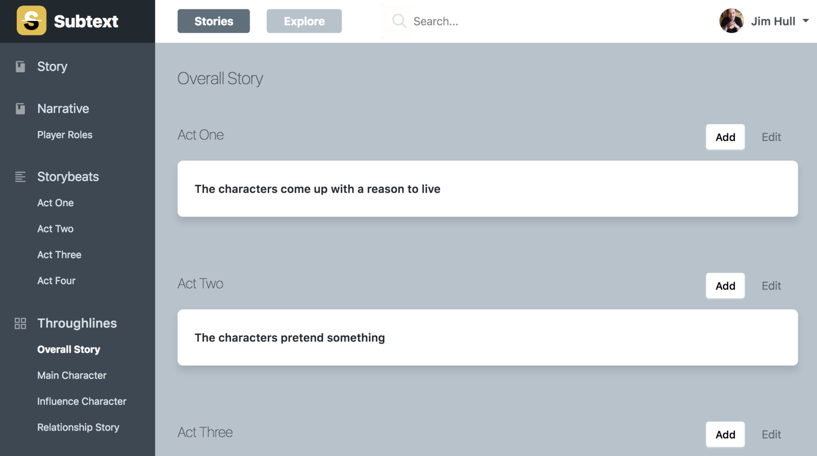 Overall Story View