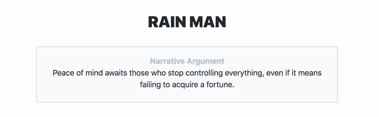 The Narrative Argument of Rain Man