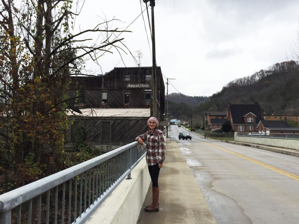 Serena in front of the Appalshop building in Whitesburg, KY.