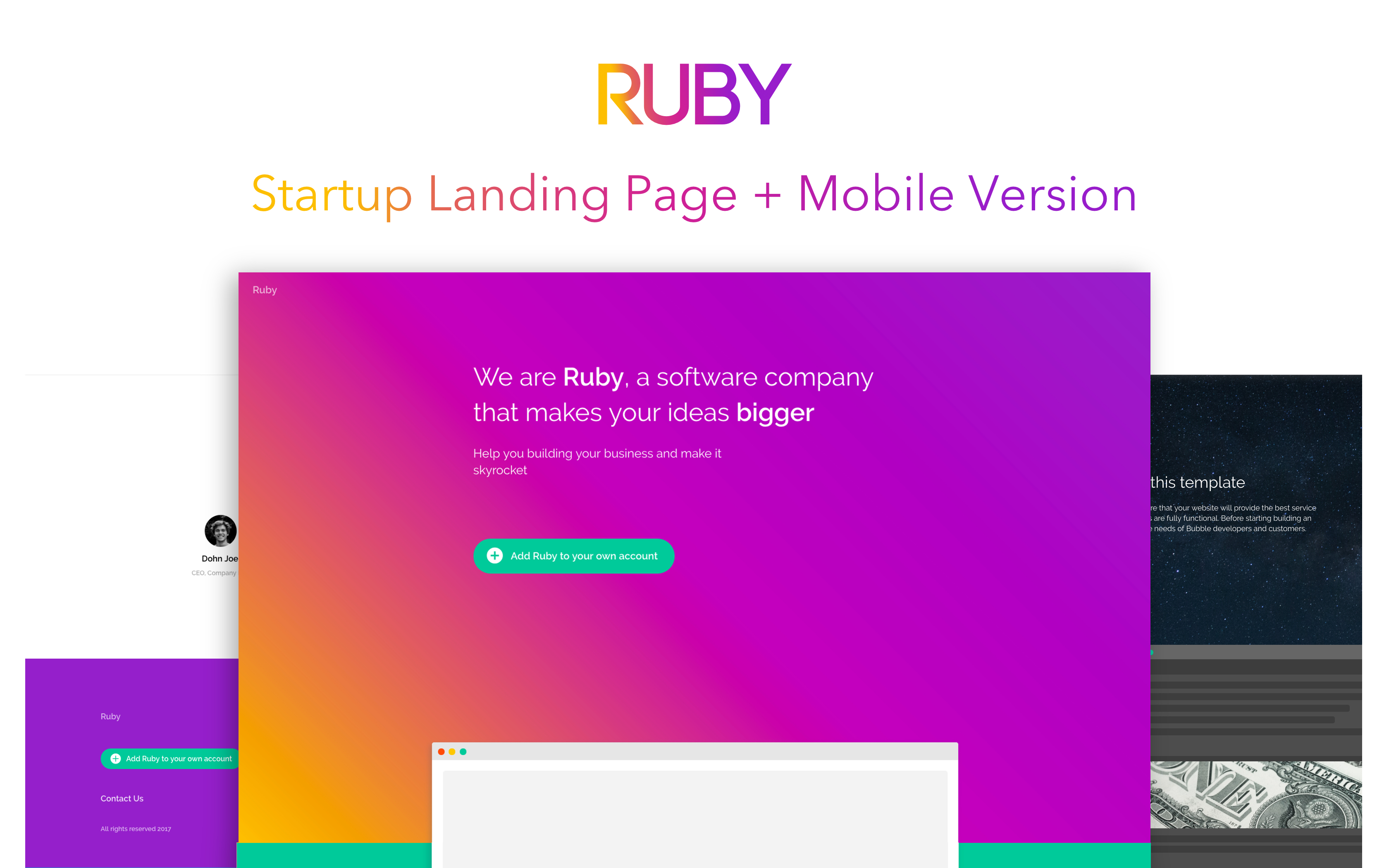 Ruby - Landing Page Template | Bubble