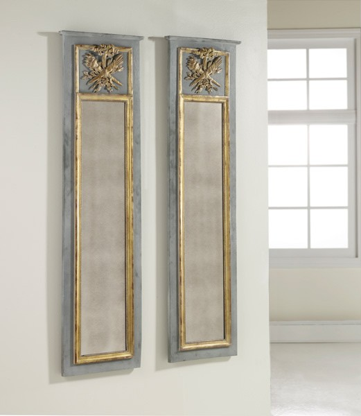 Wooden trumeau mirror
