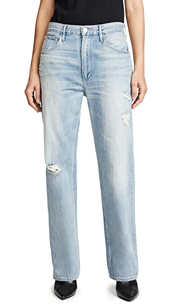 3x1 Addie Loose Fit Jeans in Perrin. Full length, slant hip pockets, patch back pockets, straight-cut denim